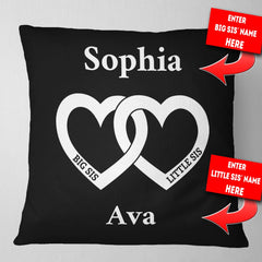 Personalized Big Sis Little Sis Heart Throw Pillow Cover - 18