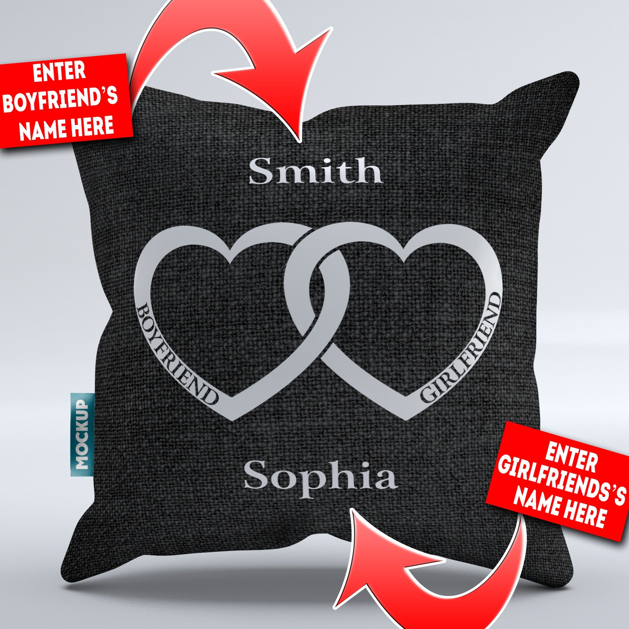"Personalized Boyfriend Girlfriend Heart - Throw Pillow Cover - 18"" x 18"""