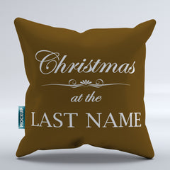 Personalized Christmas at the (Family Name) - Throw Pillow Cover - 18