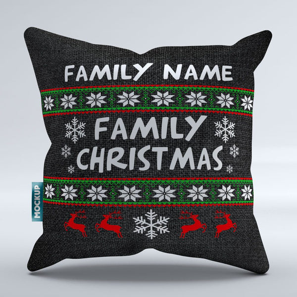 personalized family name ugly christmas throw pillow cover 18 x 18 mostly pillows - Christmas Decorative Pillow Covers