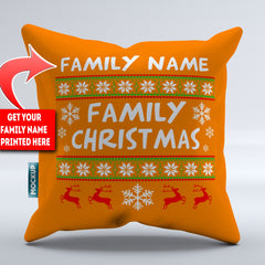 Personalized Family Name Ugly Christmas Throw Pillow Cover - 18