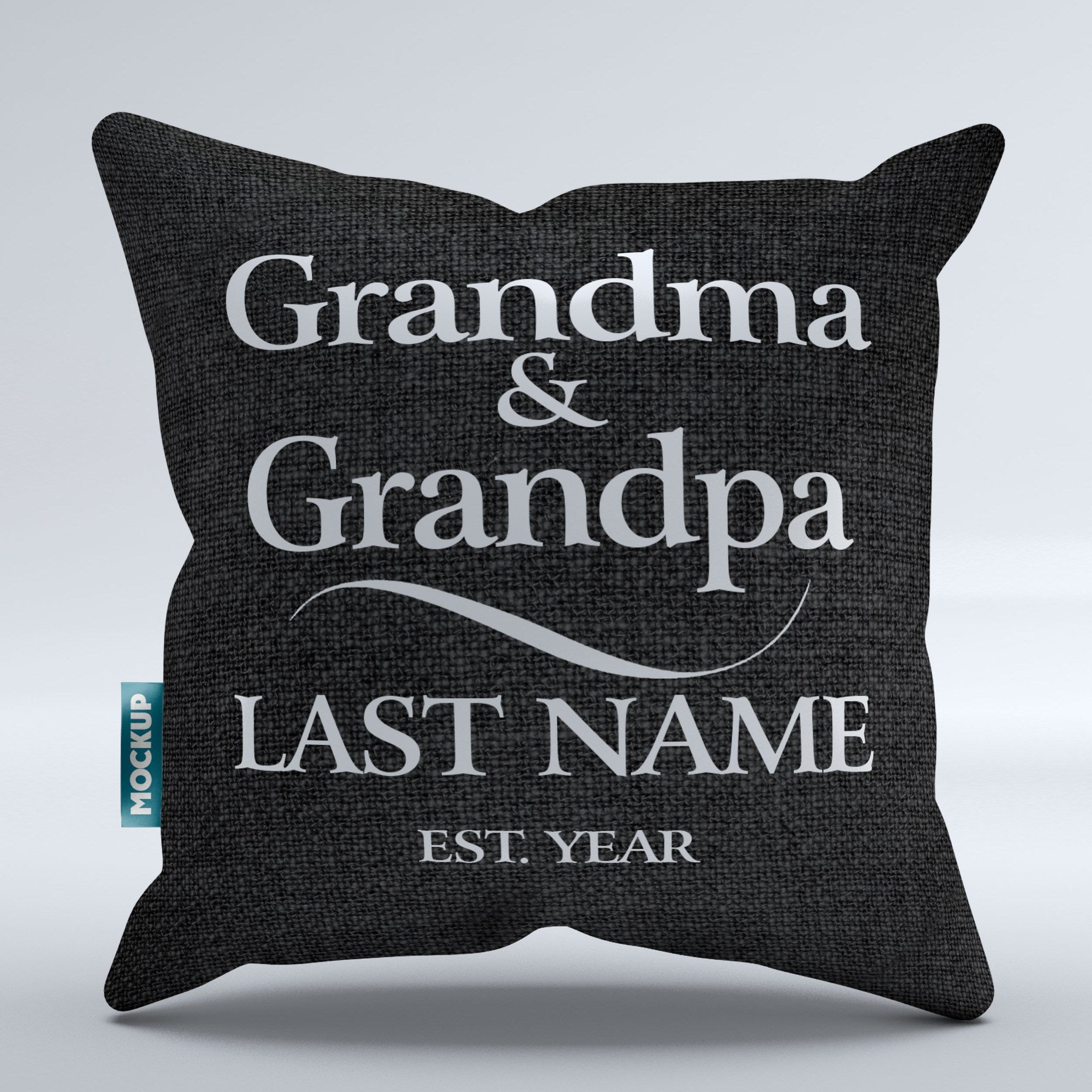 "Personalized Grandma and Grandpa Throw Pillow Cover - 18"" x 18"""