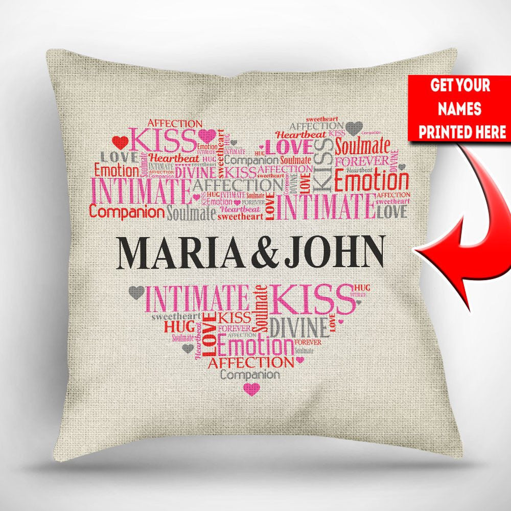 "Personalized Heart Word Cloud Throw Pillow Cover - 18"" x 18"""