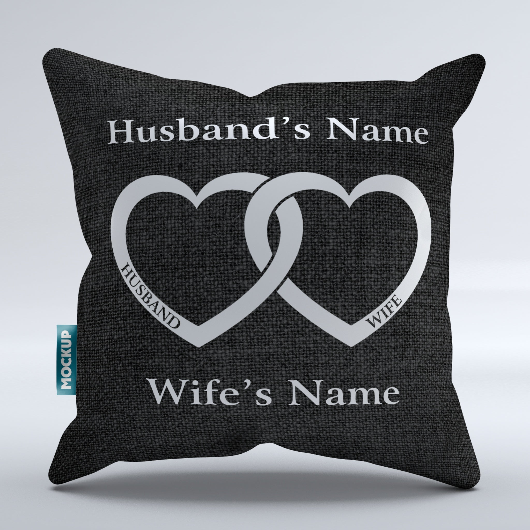 "Personalized Husband and Wife Throw Pillow Cover - 15"" x 15 ..."