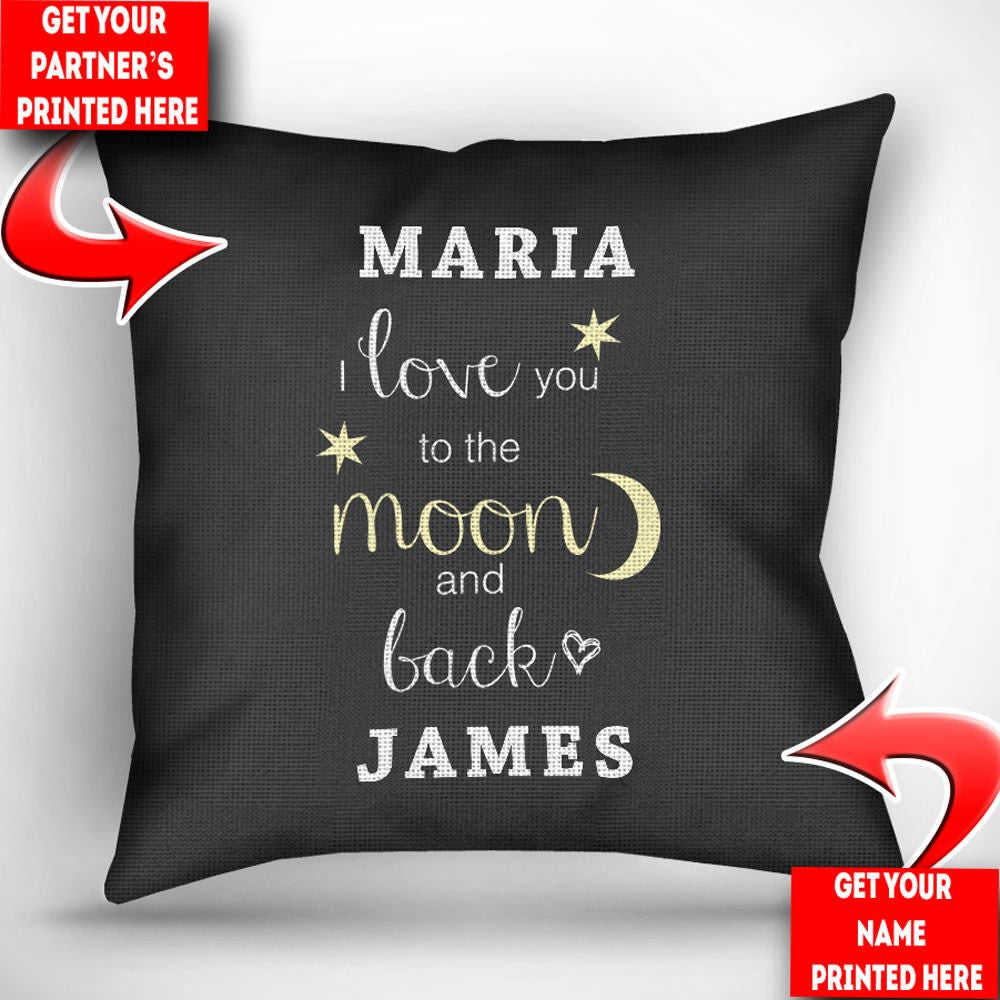 "Personalized I Love You to the Moon and Back - Throw Pillow Cover- 18"" x 18"""