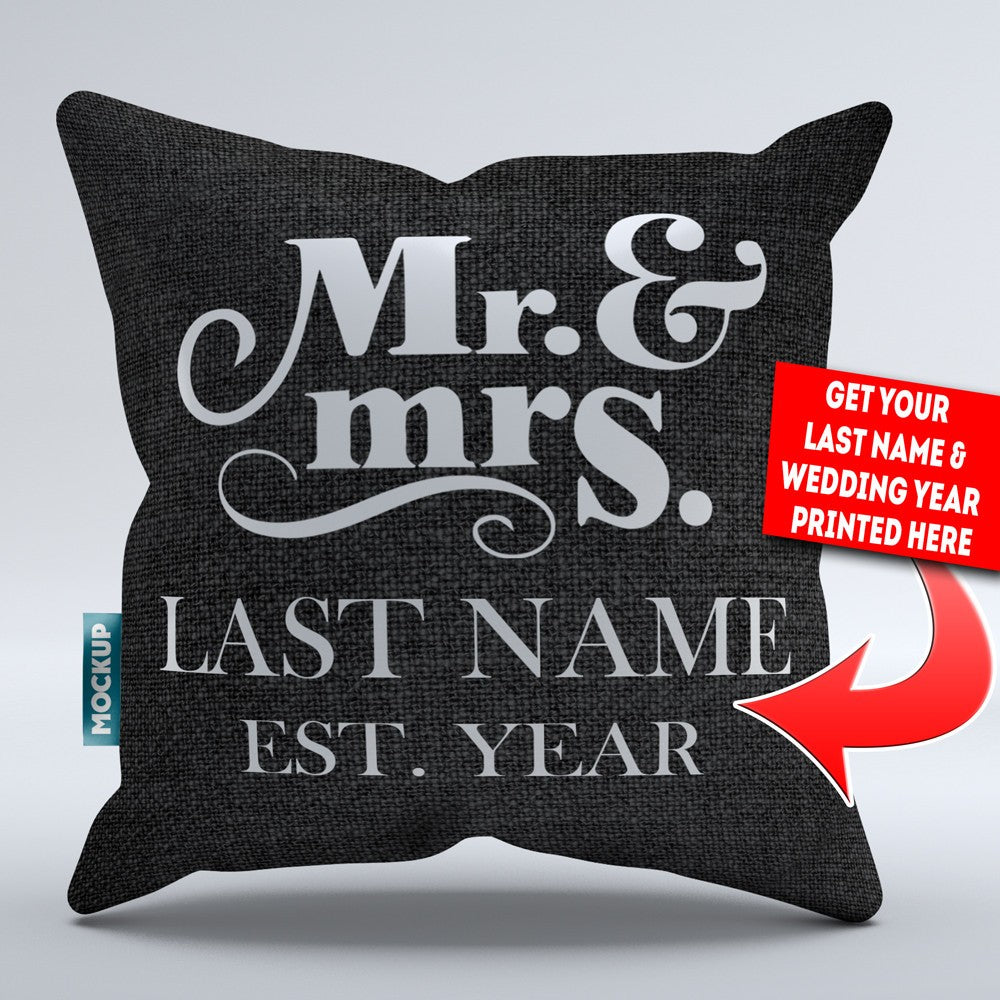 Personalized Mr And Mrs Throw Pillow Cover Style 1 18 X 18