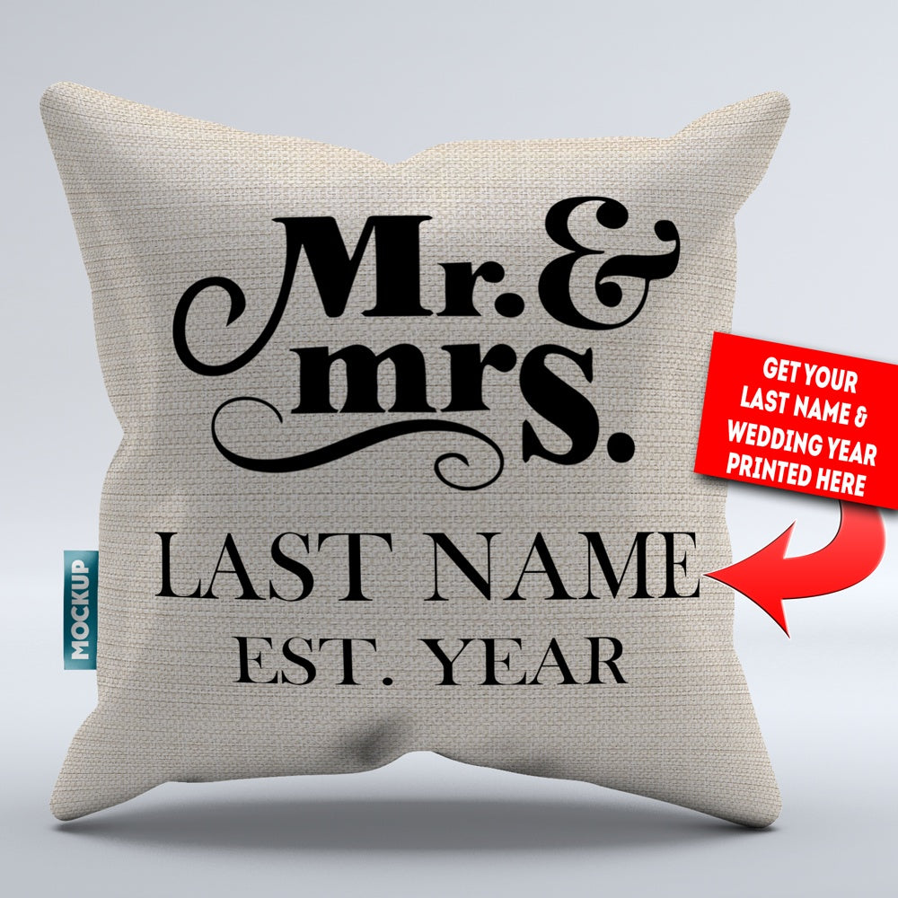 Personalized Mr And Mrs Throw Pillow Cover 18 Quot X 18