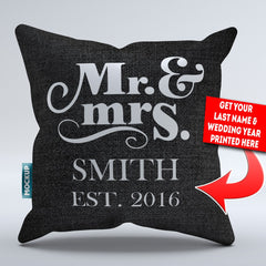Personalized Mr & Mrs, Mrs & Mrs, Mr & Mr Throw Pillow Cover - 18