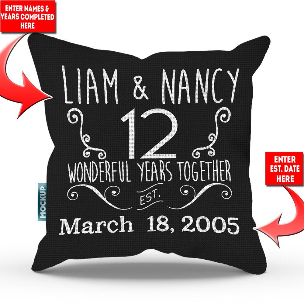 "Personalized Relationship Anniversary Throw Pillow Cover - 18"" x 18"""