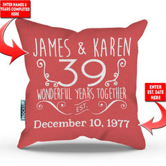Personalized Relationship Anniversary Throw Pillow Cover - 18