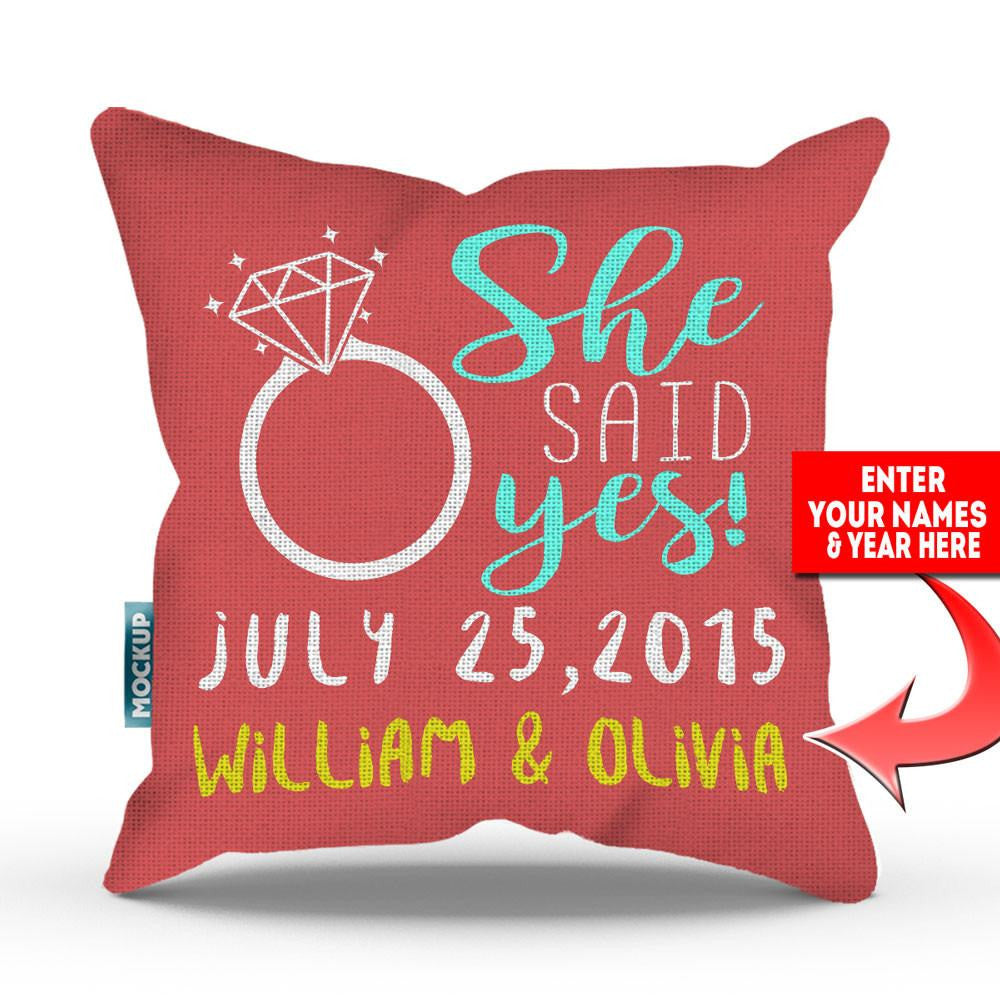 Throw Pillows Yes Or No : Personalized She Said Yes Throw Pillow Cover - 18