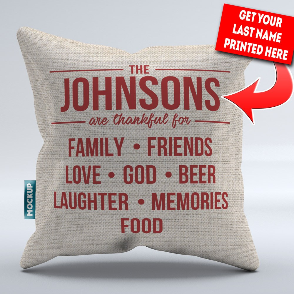 "Personalized Thankful Family - Throw Pillow Cover - 18"" x 18"""