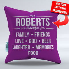 Personalized Thankful Family Pillow Cover - 18
