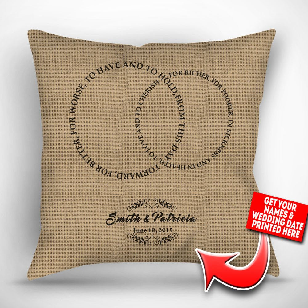 Personalized Wedding Vows Throw Pillow Cover 18 Quot X 18