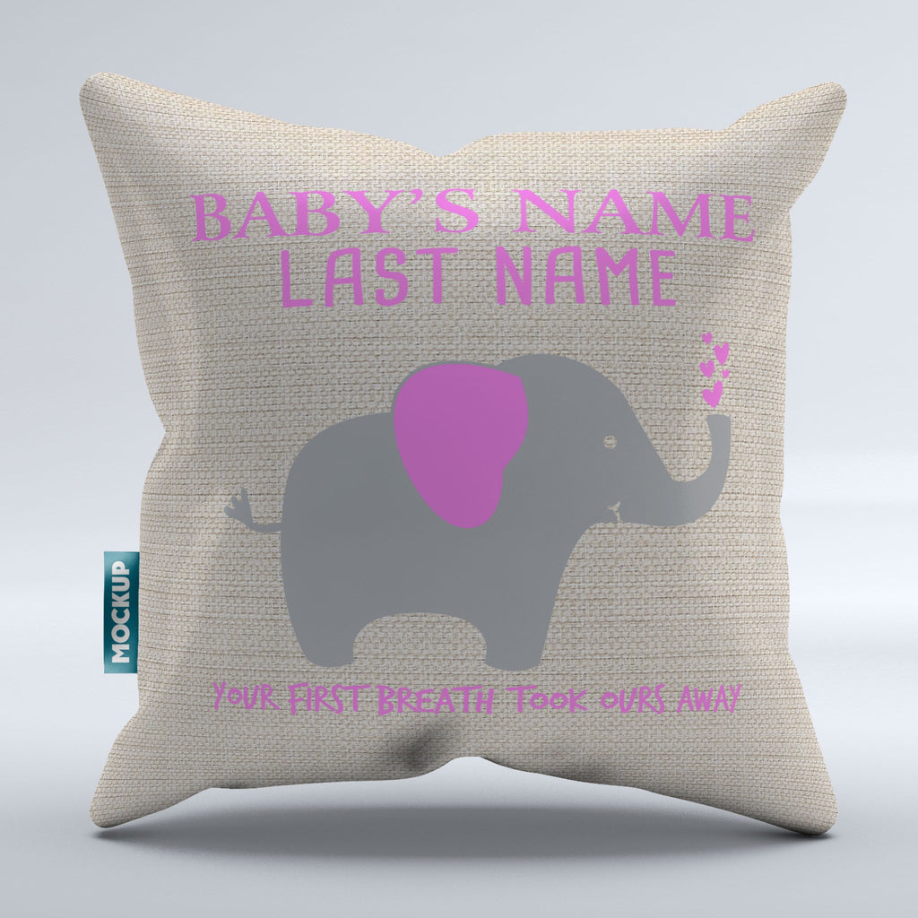 Personalized Your First Breath Took Ours Away Pillow Cover