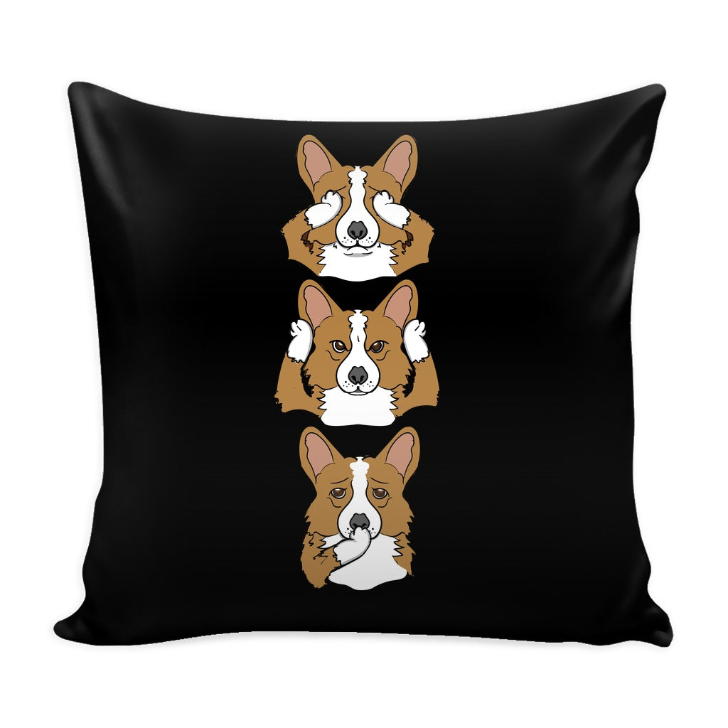 See No Evil Corgi Pillow Case