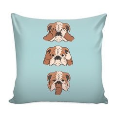 See No Evil English Bulldog Pillow Case