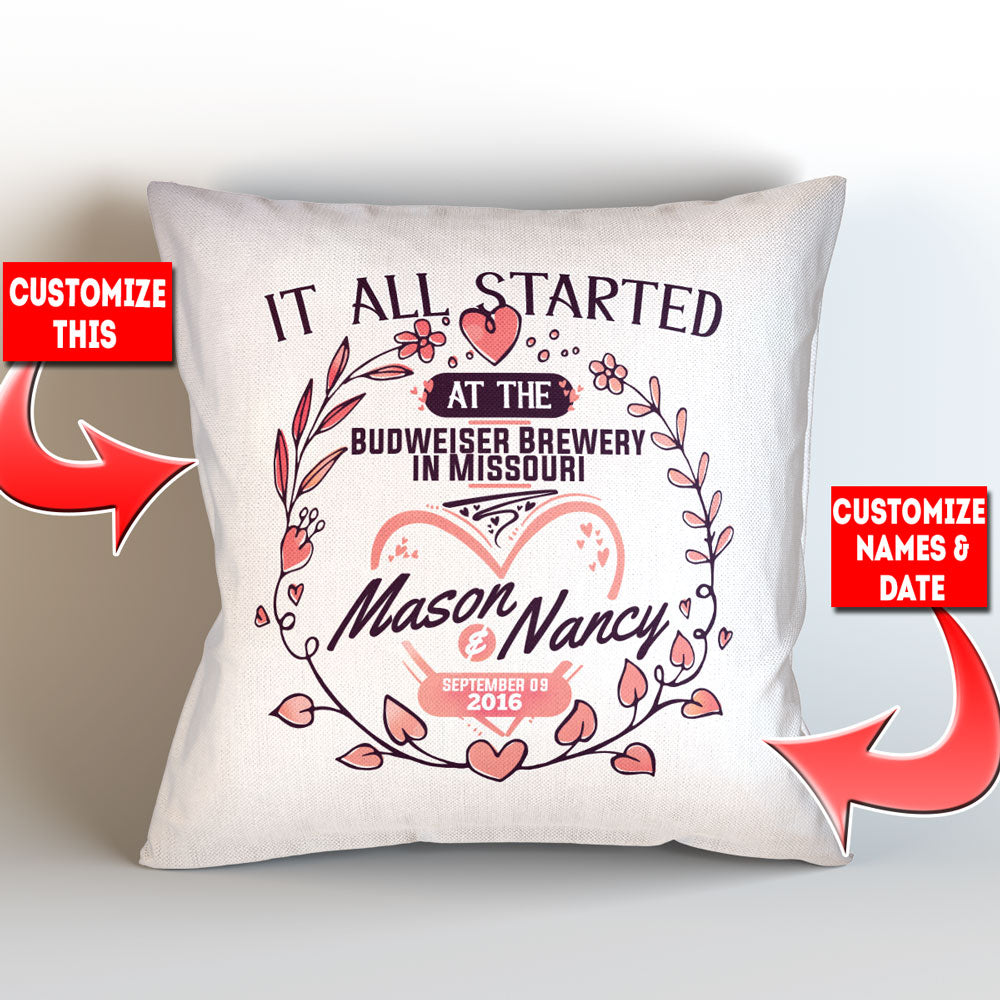 "Personalized It All Started At – Pillow Cover – Style 2 - 18"" x 18"""