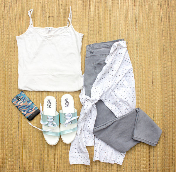Roped in summer goals with pastel. Feel fresh and style PRESA BLUE ROPED IN with a white tank and grey denims. - PRESA