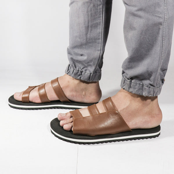 Brown Strapped Men Footwear - Presa