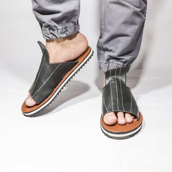 Black White Striped Men Footwear - Presa