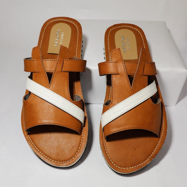 Tan Cross-strap Sliders - Presa