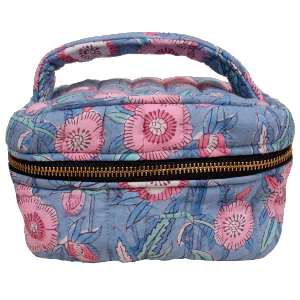 Emily Make Up Bag Blue/Pink flower