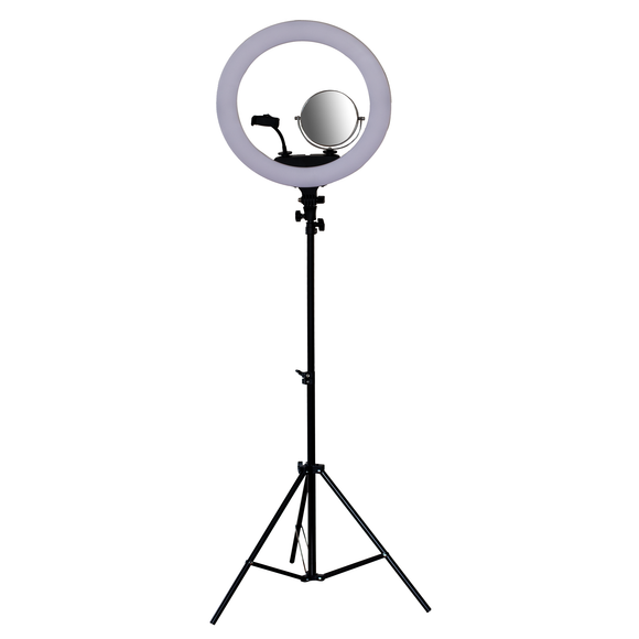 Large LED Ring Light With Mirror and Phone Holder