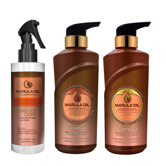 Marula Oil Shampoo, Conditioner and Leave in Care Set