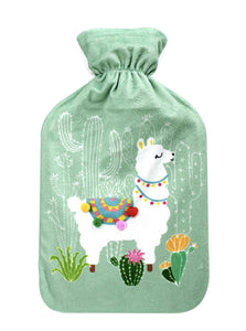 Llama Hot Water Bottle - With Fleece Cover (2 litre)