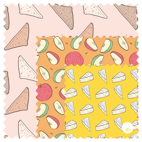 **PRE-ORDER** Beeswax Wraps: Variety Pack Set of 3 (Cheese, Apple, Bread)