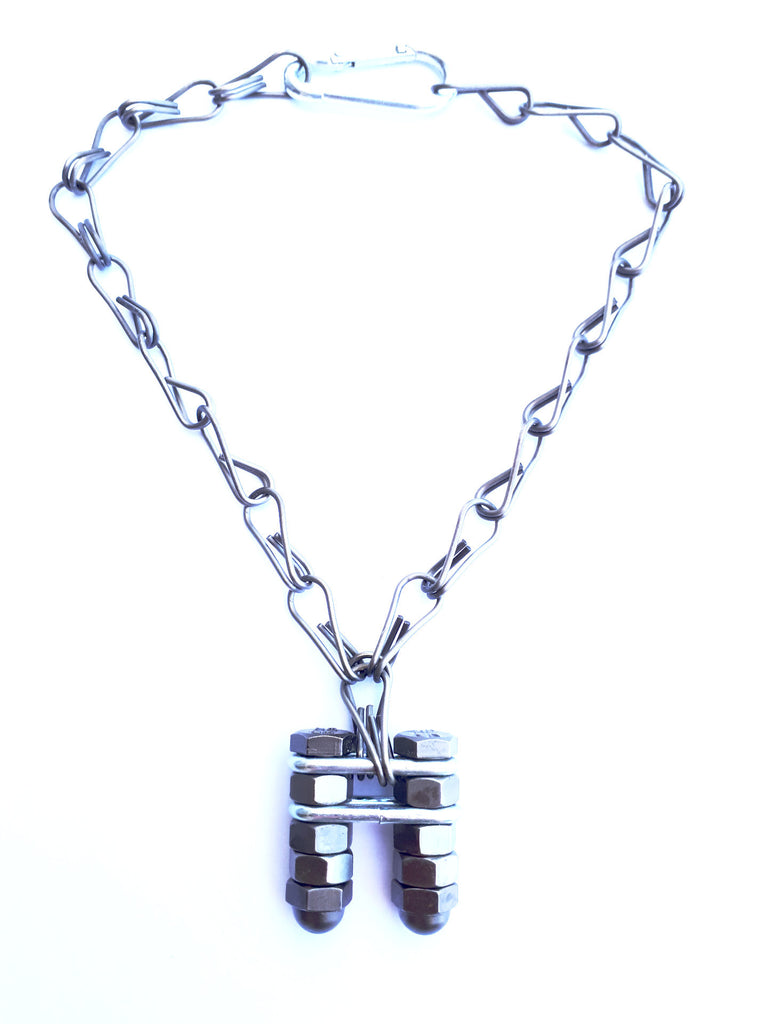Black nuts and bolts charm choker