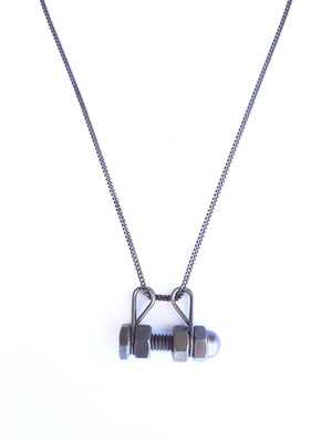 Men bullet single bolt necklace