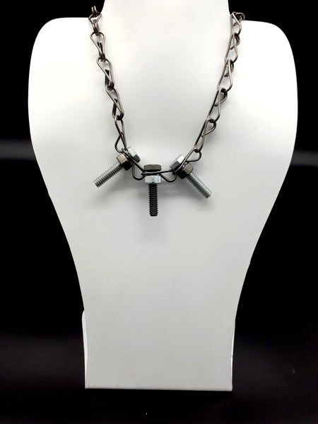 Trio Black-Silver Bolts Necklace