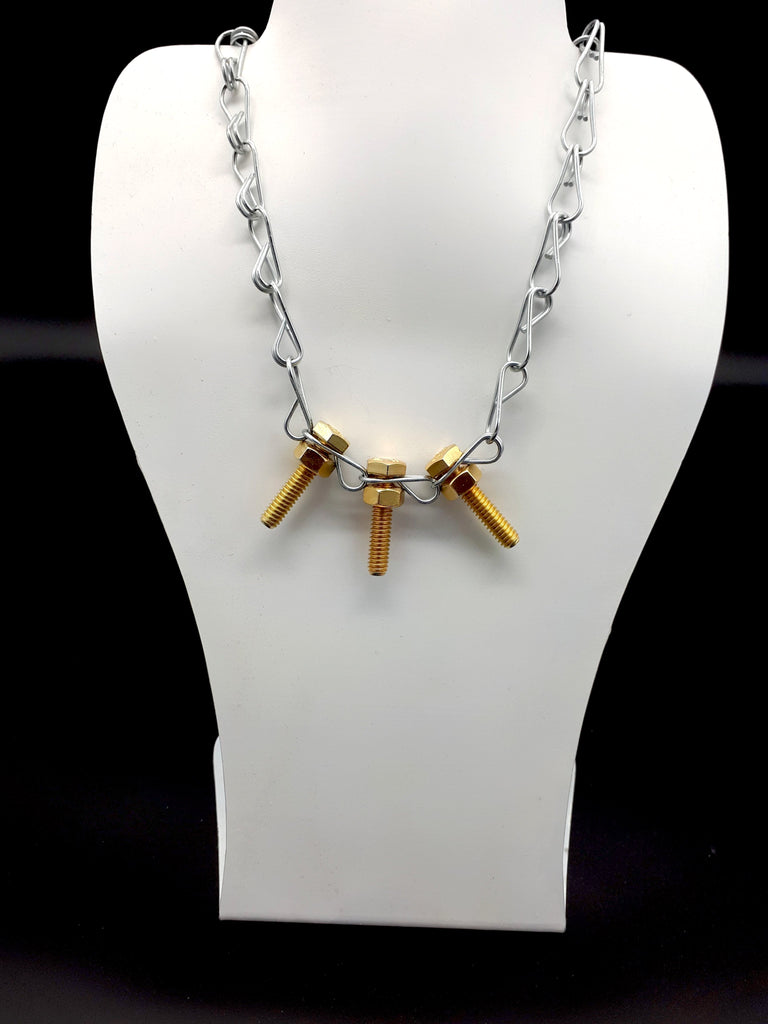 Trio Gold Bolts Necklace