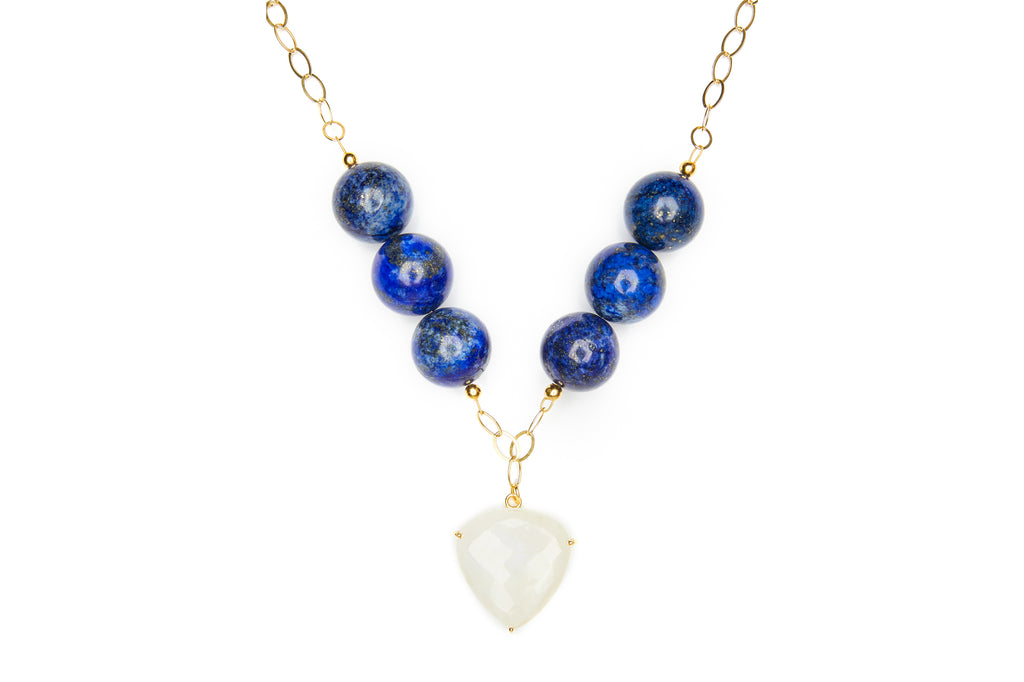 Lapis Lazuli and Moonstone Statement Necklace