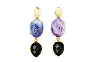 Purple Agate and Black Onyx Cocktail Earrings