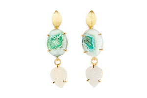 Green Agate and White Druzy Cocktail Earrings