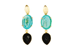 Green Agate and Black Onyx Cocktail Earrings