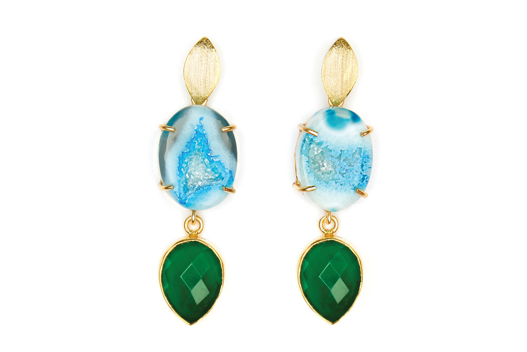 Blue Agate and Green Onyx Cocktail Earrings