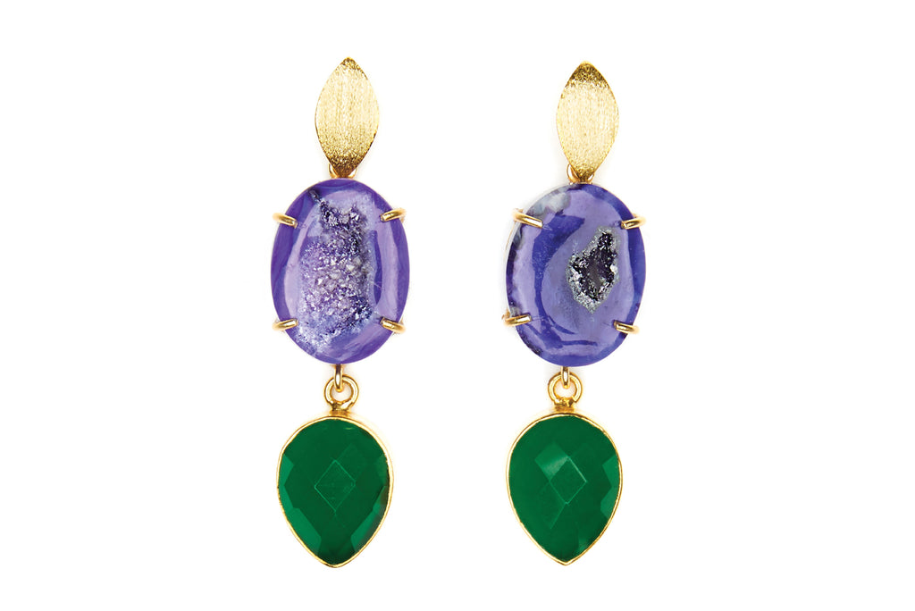 Purple Agate and Green  Onyx Cocktail Earrings