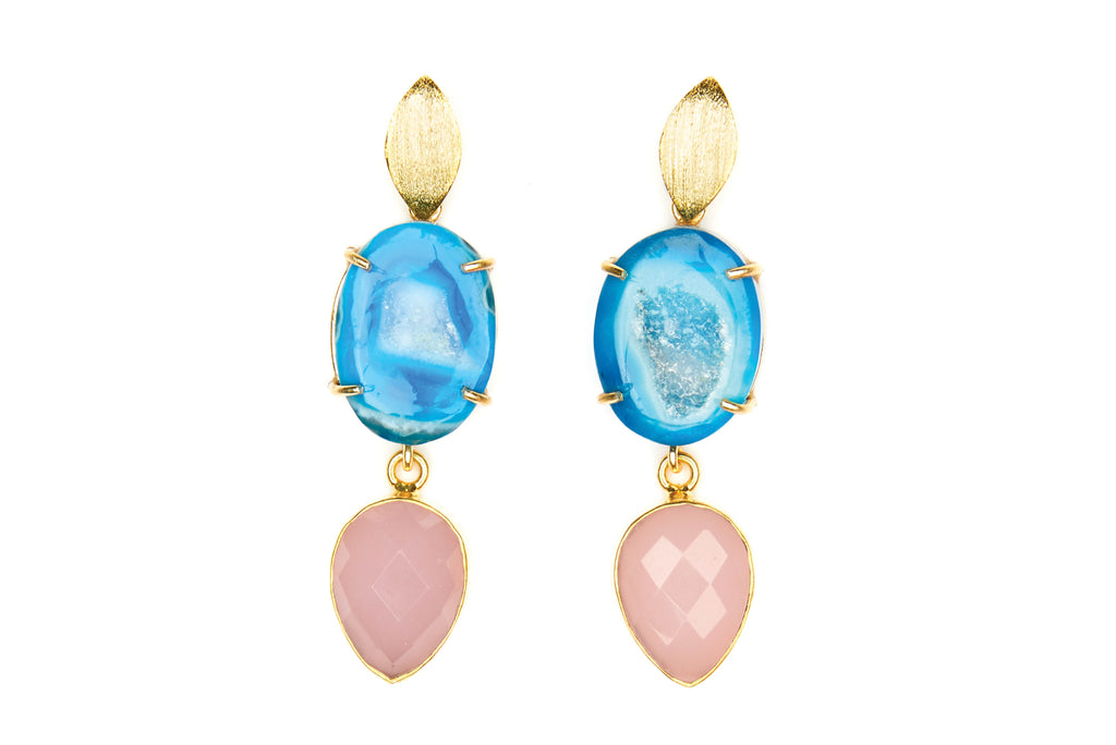 Blue Agate and Pink Chalcedony Cocktail Earrings