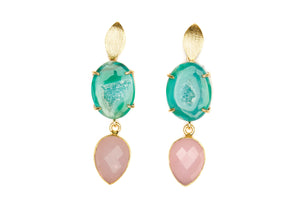 Green Agate and Pink Chalcedony Cocktail Earrings