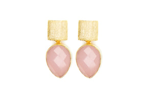 Pink Chalcedony Teardrop Earrings