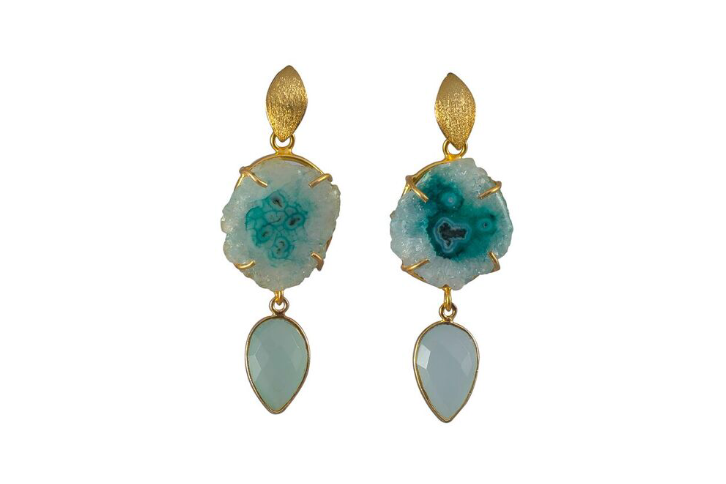 Aqua Double Drop Cocktail Earrings