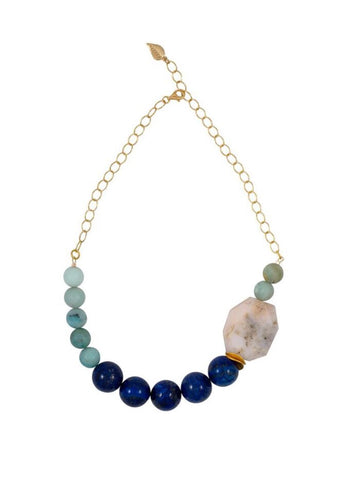 Lapis Lazuli and Peruvian Pink Opal Necklace