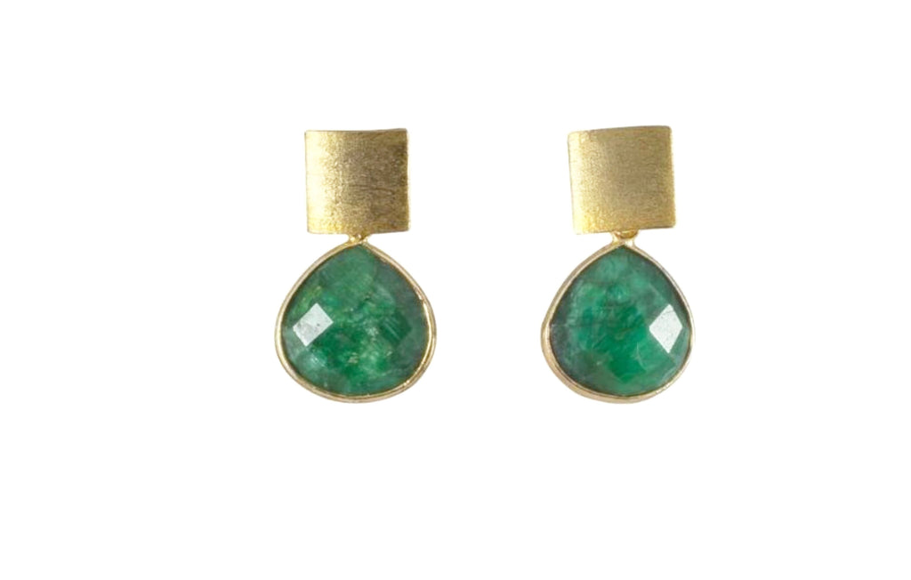 Green Seraphinite Tear Drop Earrings