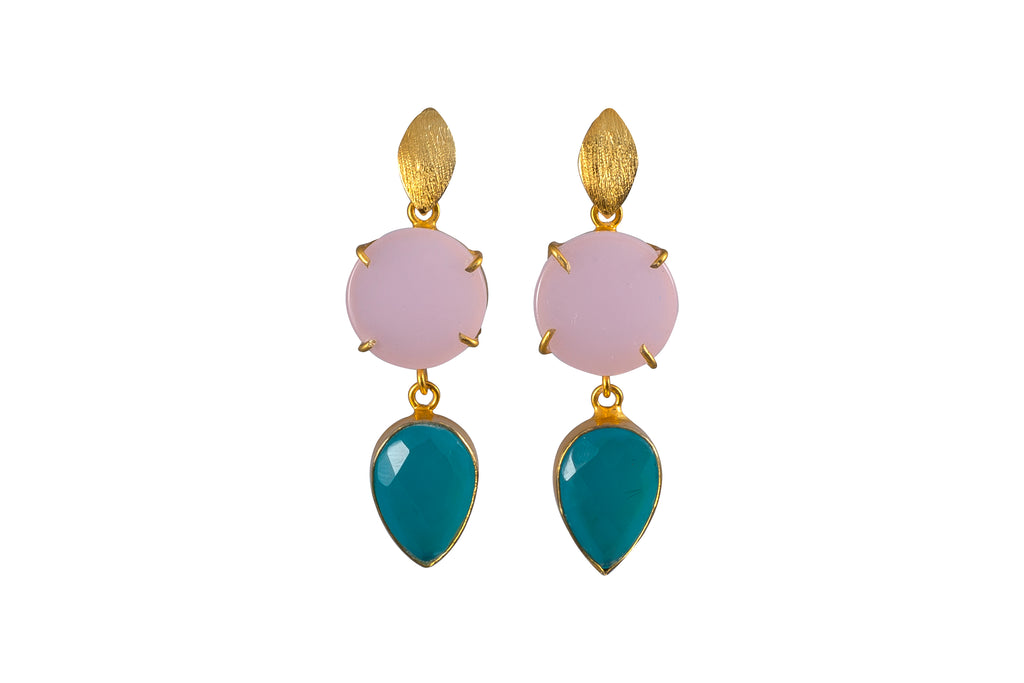 Pink Onyx and Blue Chalcedony Cocktail Earrings