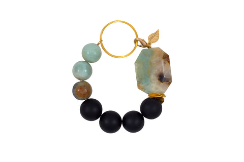 Green Amazonite and Black Onyx Vermeil Bracelet