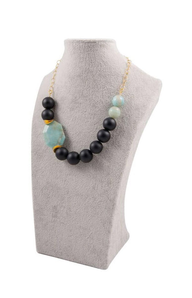 Green Amazonite and Black Onyx Statement Necklace